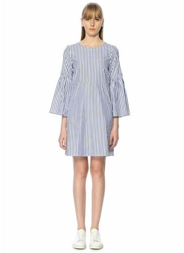 Mds Stripes Kolları Volanlı Çizgili Kısa Elbise Mavi